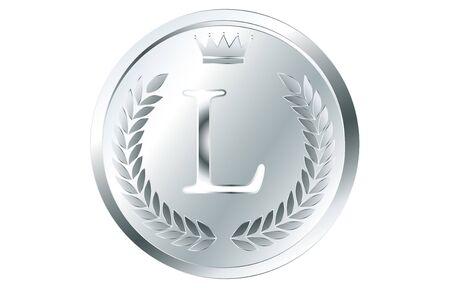 Laurel wreath and crown alphabet coins, L 向量圖像
