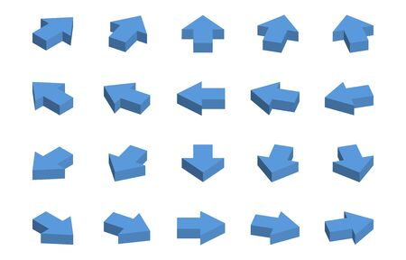Isometric blue arrow icon set Illustration