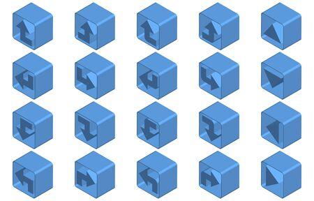 Isometric blue arrow icon set
