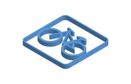 Bicycle blue isometric icon illustration