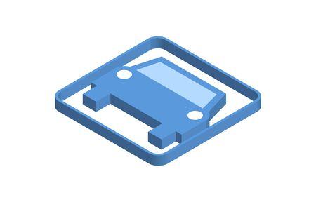 Private car blue isometric icon illustration