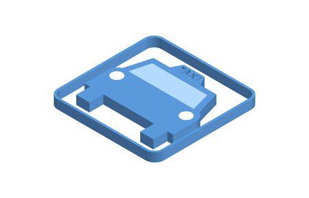 Taxi blue isometric icon illustration Ilustración de vector