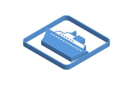 Blue isometric icon illustration of a luxury cruise ship