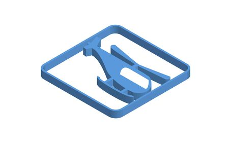 Helicopter blue isometric icon illustration
