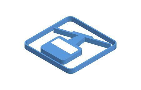 Ropeway blue isometric icon illustration