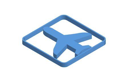 Airplane blue isometric icon illustration