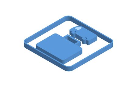 Blue isometric icon illustration of luggage delivery