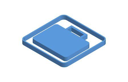 Baggage blue isometric icon illustration