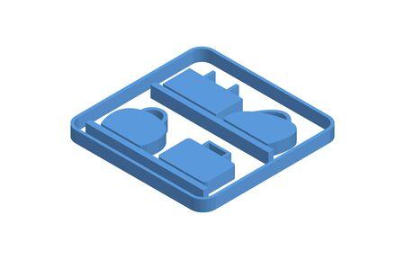 Blue isometric icon illustration of baggage claim