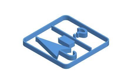 Blue isometric icon illustration of lost property window