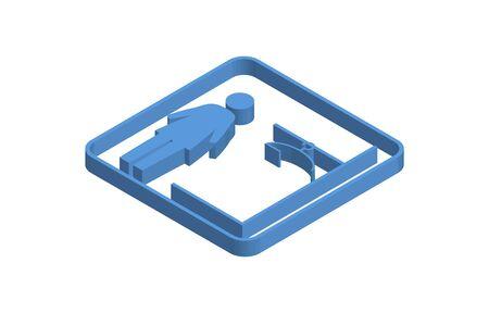 Blue isometric icon illustration of girls changing room