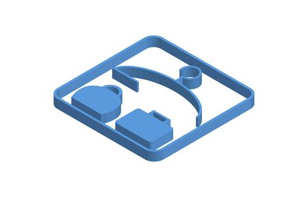 Blue isometric icon illustration of changing room