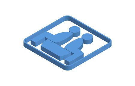 Blue isometric icon illustration of a waiting room