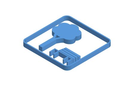Tree and bench blue isometric icon illustration