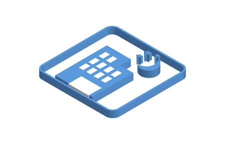 Blue isometric icon illustration of building at night