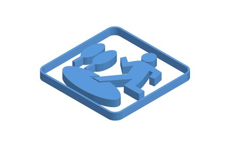 Wide area shelter blue isometric icon illustration