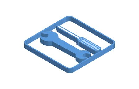 Blue isometric icon illustration of spanner and screwdriver