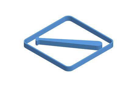 Blue isometric icon illustration of a baseball bat