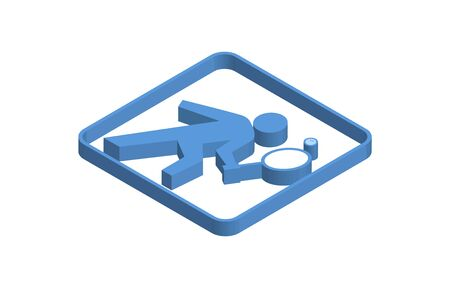 Blue isometric icon of person playing ball game Ilustracja