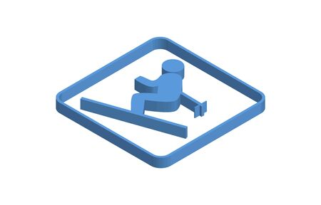 Blue isometric icon of person skiing
