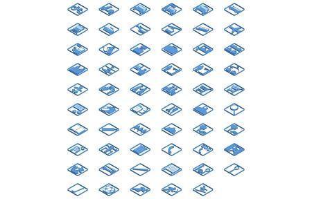 Set of blue isometric icons 59 types Illustration