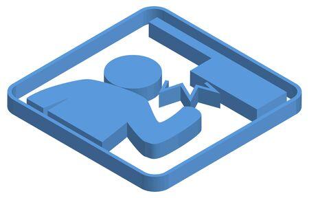 Blue isometric illustration of overhead caution