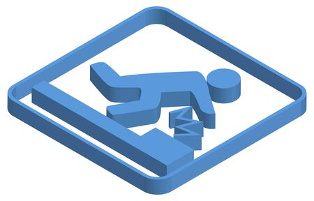 Blue isometric illustration of foot caution