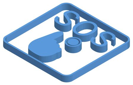 Blue isometric illustration of an emergency call push button