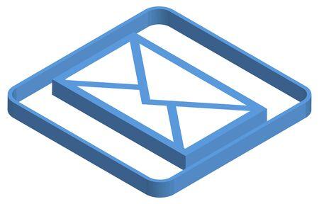 Blue isometric illustration of mail