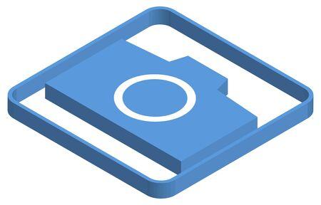 Blue isometric illustration of camera