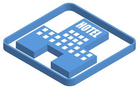 Hotel blue isometric illustration Ilustracja