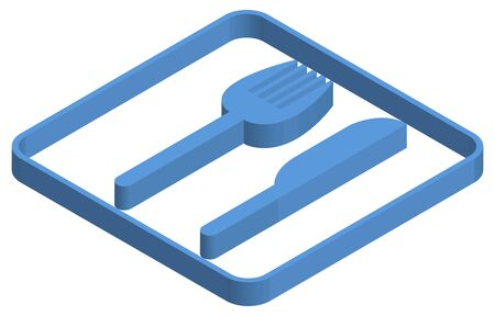 Blue isometric illustration of restaurant Ilustracja