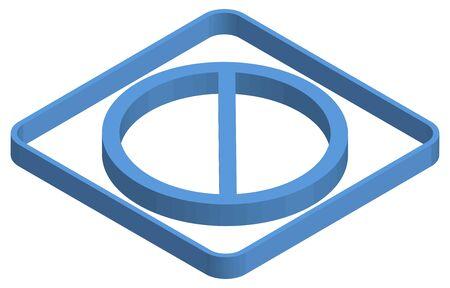 Blue isometric illustration of prohibition mark