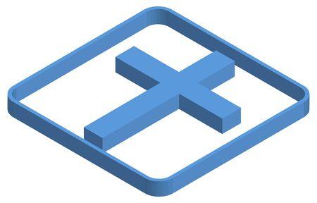 Blue isometric illustration of the cross