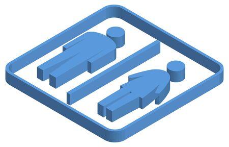 Blue isometric illustration of male and female marks