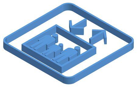 EV mark blue isometric illustration
