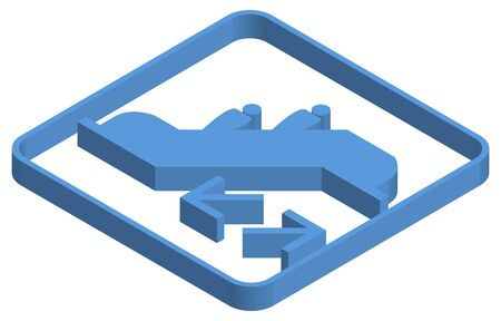 Blue isometric illustration of ESC mark