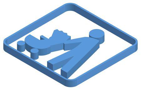 Stroller priority blue isometric illustration
