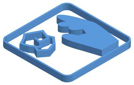 Blue isometric illustration of rubbish dump