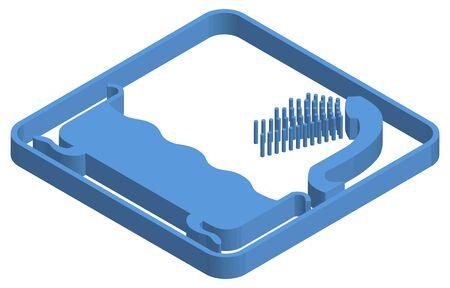 Blue isometric illustration of bathing Ilustracja