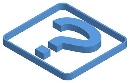 Blue isometric illustration of question mark