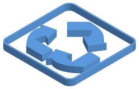 Blue isometric illustration of recycle symbol