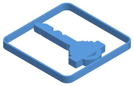 Blue isometric illustration of realistic key