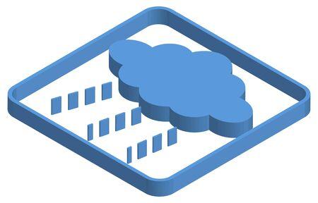 Blue isometric illustration of rain clouds Stok Fotoğraf - 147578062