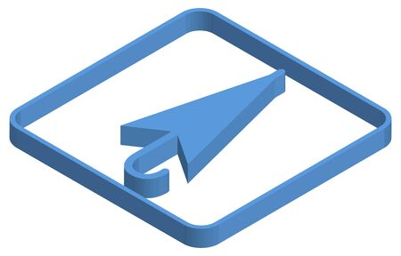 Blue isometric illustration of closed umbrella