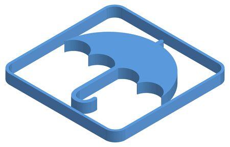 Blue isometric illustration of open umbrella