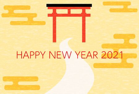New Year's card material 2021 Image of shrine torii and approach to shrine