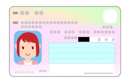 Illustration of the surface of my number card with a female face photo