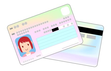 Illustration of front and back of my number card with female face photo Vettoriali