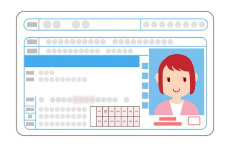Illustration of driver's license surface, general driver woman Ilustracja